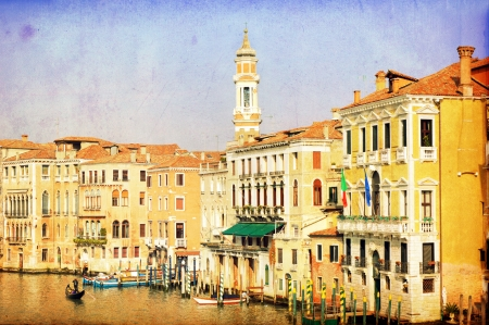 Vintage image of Canal Grande Venice Italy photo