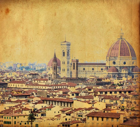 florence italy: Vintage image of town of Florence - Italy