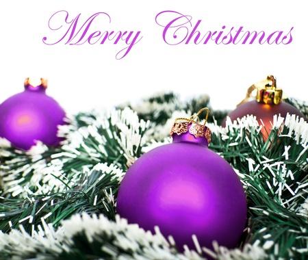 joyeux: Christmas ornaments in snow
