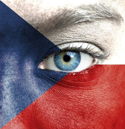 Human face painted with flag of Czech Republic photo