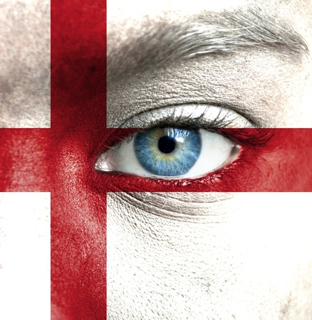 Human face painted with flag of England Stock Photo - 16523480