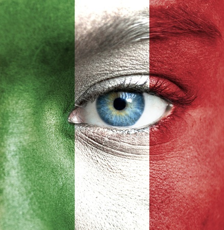 nationalistic: Human face painted with flag of Italy Stock Photo