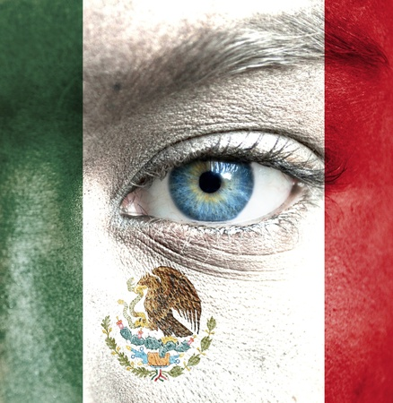 world cultures: Human face painted with flag of Mexico
