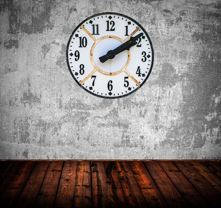 Grunge room with antique wall clock Stock Photo - 16795874