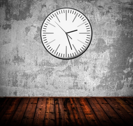 Grunge room with old clock on wall Stock Photo - 16795855