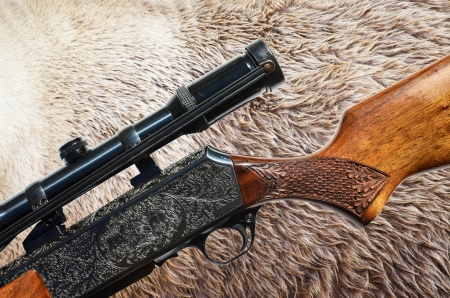 Hunting cocnept - Grizzly bear fur and sniper rifle gun photo