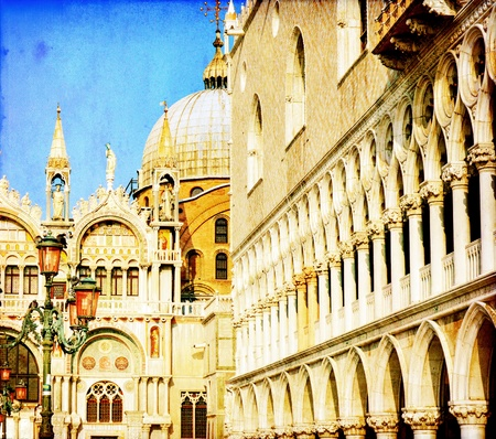 Vintage image of San Marco square - Venice Italy photo