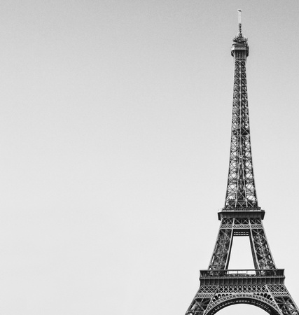 Eiffel tower black and white image photo