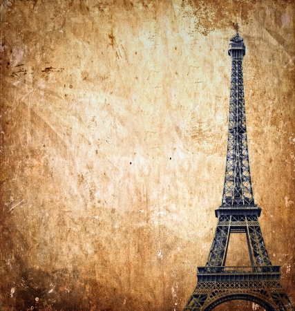 Eiffel tower on grunge background photo