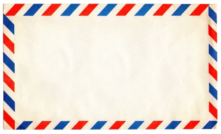 vintage postcard: Empty vintage air mail envelope isolated on white