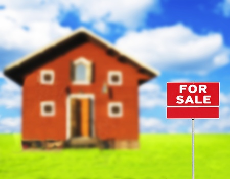 FOR SALE sign against wooden house on beautiful meadow in background photo