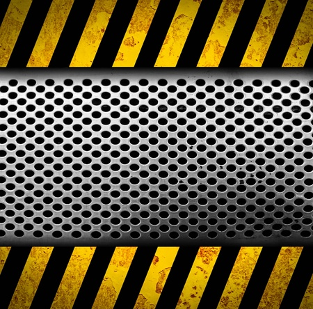 Grunge metal background with black and yellow warning stripes Stock Photo - 17119961