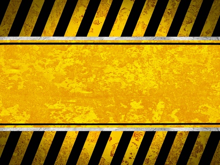 Grunge metal background with black and yellow stripes photo