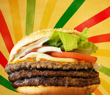 Hamburger against vintage striped background photo