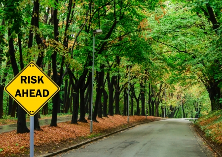 forest management: RISK AHEAD sign against road in green forest - Business concept Stock Photo