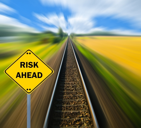 RISK AHEAD sign - Business concept photo