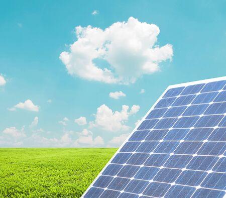 silicium: Solar panel against blue sky Stock Photo