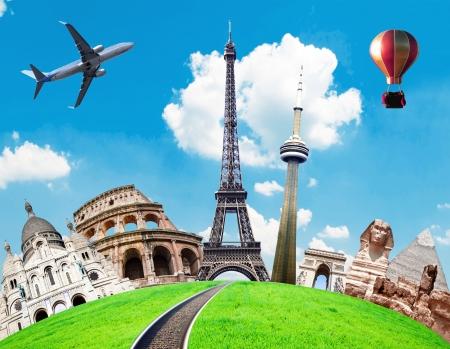 destinos: Viaja por el mundo la imagen conceptual Foto de archivo