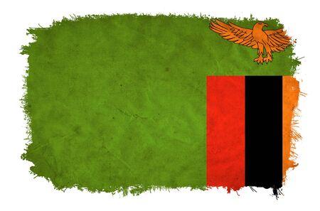 zambian: Zambia grunge flag Stock Photo