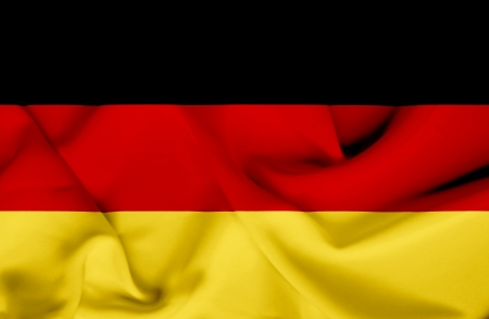bandera alemania: Alemania Bandera que agita Foto de archivo