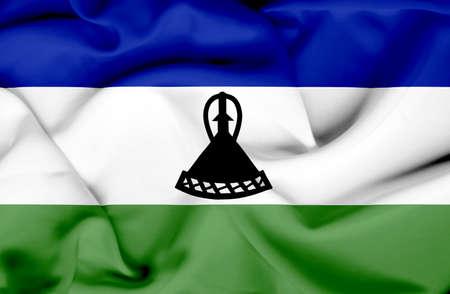 LESOTHO: Lesotho waving flag