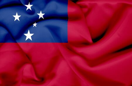 samoa: Samoa waving flag Stock Photo