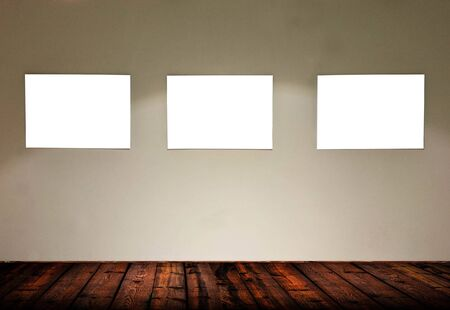 Empty frames in gallery room  photo