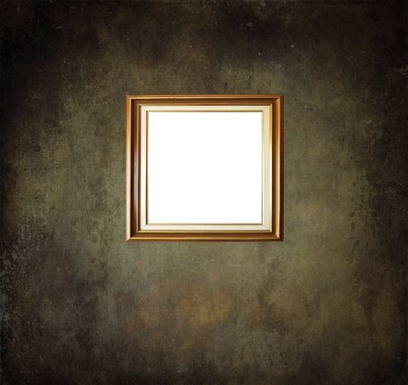 Empty frame on grunge room wall photo