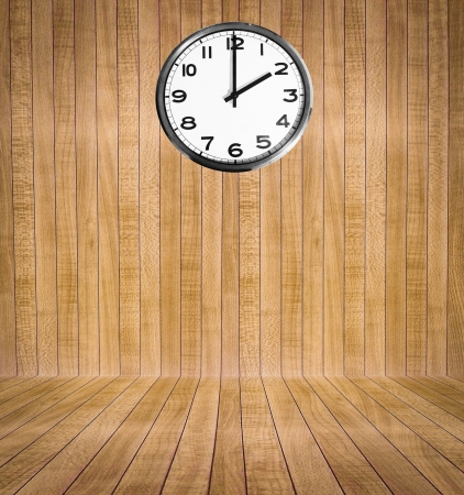 Wooden room with clock Stock Photo - 17539021