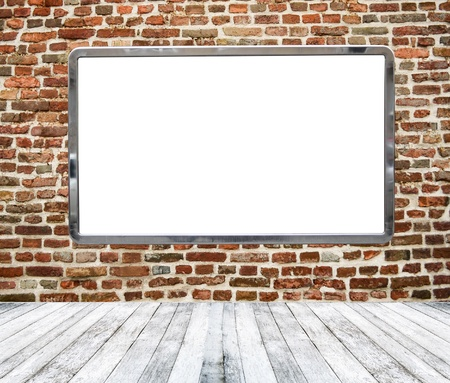 Gallery room with empty billboard hanging on brickwall Stock Photo - 17677142