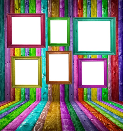 Retro colorful wood room with multicolored photo frames photo