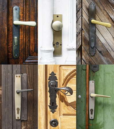 Antique door handles collage photo