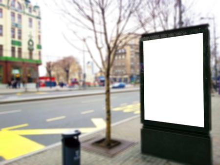 high dynamic range: Empty billboard at bus stop