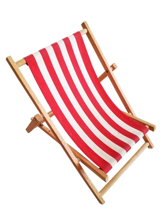 reclining: Beach chair isolated on white