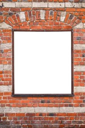 Blank billboard on brick wall photo