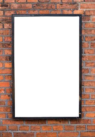 Empty billboard on brick wal photo