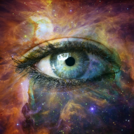 discover: Human eye looking in Universe - Elements of this image furnished