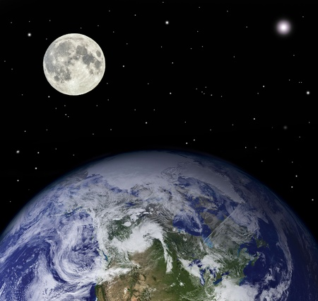 Planet earth and moon - Elements of this image furnished photo