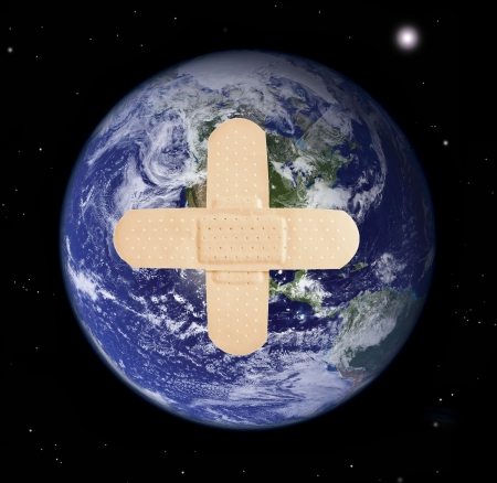 Planet earth with bandage -  Elements of this image furnished  photo