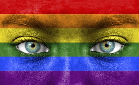 gay flag: Human face painted with flag of Pride (Gay) Stock Photo