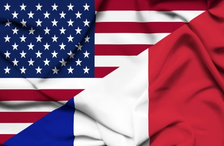 allied: United States of America and France waving flag