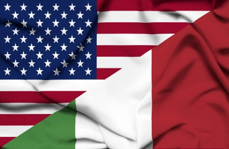 allied: United States of America and Italy waving flag