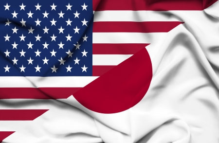 allies: United States of America and Japan waving flag