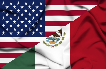 iraq flag: United States of America and Mexico waving flag Stock Photo