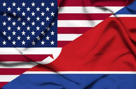 United States of America and North Korea waving flag Stock Photo - 19305803
