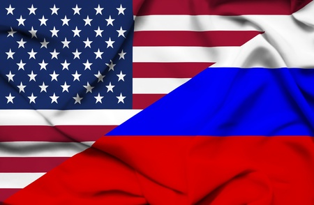 allied: United States of America and Russia waving flag Stock Photo