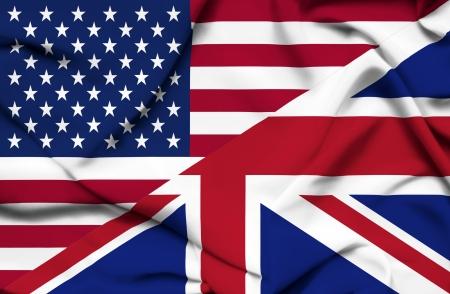 United States of America and United Kingdom waving flag photo