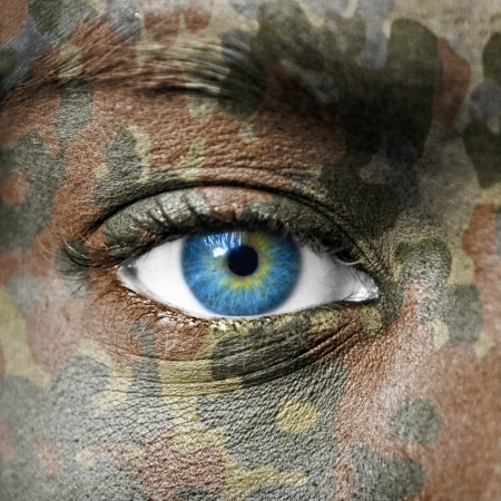 army face: Extreme close up of soldiers eye Stock Photo