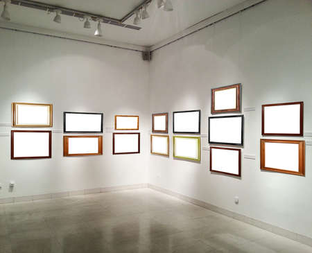 Gallery walls with empty picture frames photo