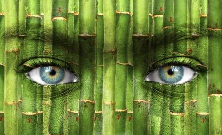 Human face with bamboo pattern